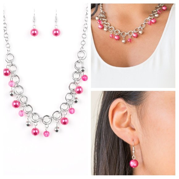 Fiercely Fancy Pink Necklace Earing Set (115)